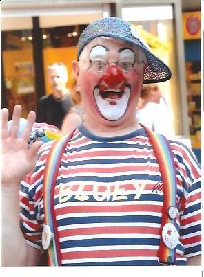 Clown Bluey entertains in Denmark