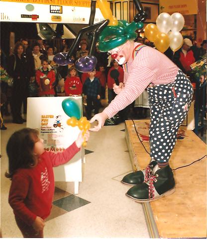 Clown Bluey performing at the Easter Bonnet Competition, Marlands Shop Mall