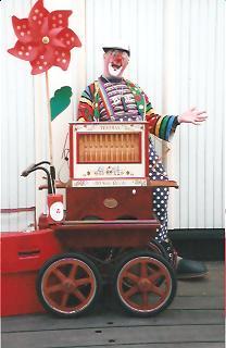 Clown Bluey plays the 20-note Trueman reed organ