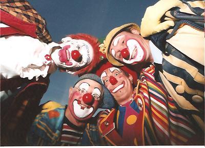Clowns Rainbow, Bluey, Conk and Sonny