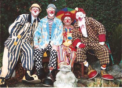 Clowns Sonny, Bluey, Conk and Rainbow