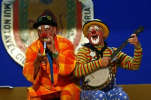 Conk and Bluey perform on stage in Terceira, Azores
